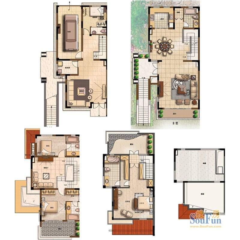 上海庄园B户型 4室4面积:310.00平米