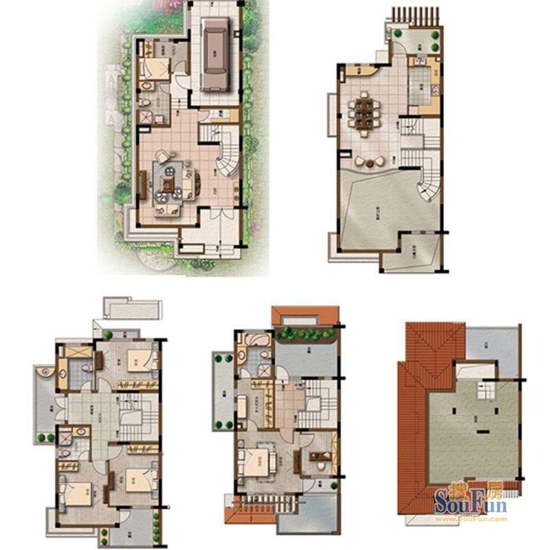 上海庄园E户型 4室4面积:288.00平米