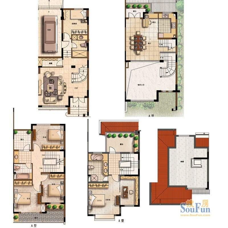 上海庄园A户型 4室4面积:248.00平米