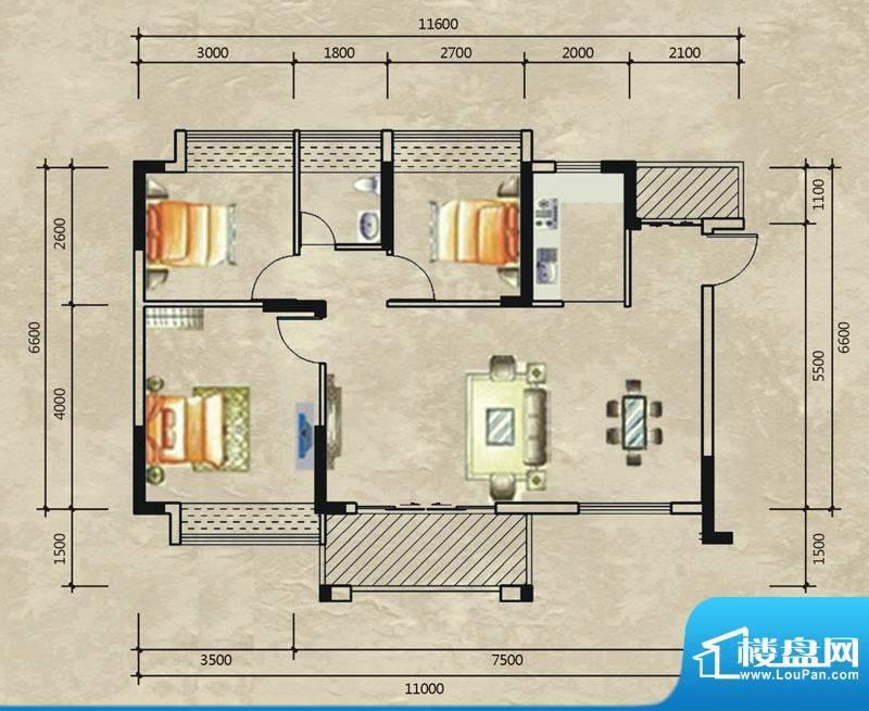 德洲城三期12栋二单面积:94.01平米