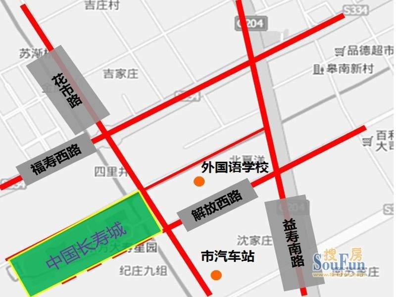 中国长寿城交通图