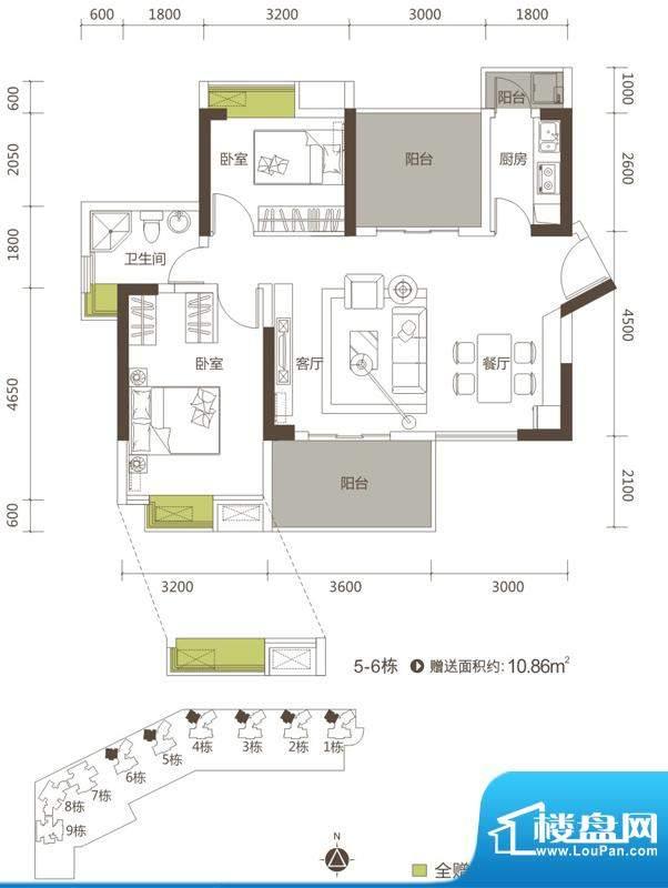 御玺山A1户型图 2室面积:91.66平米