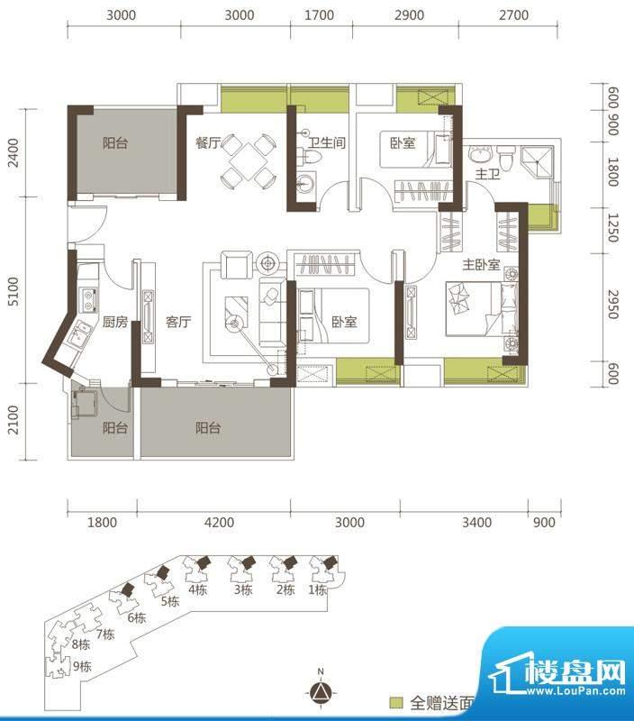 御玺山A2户型图 3室面积:114.38平米