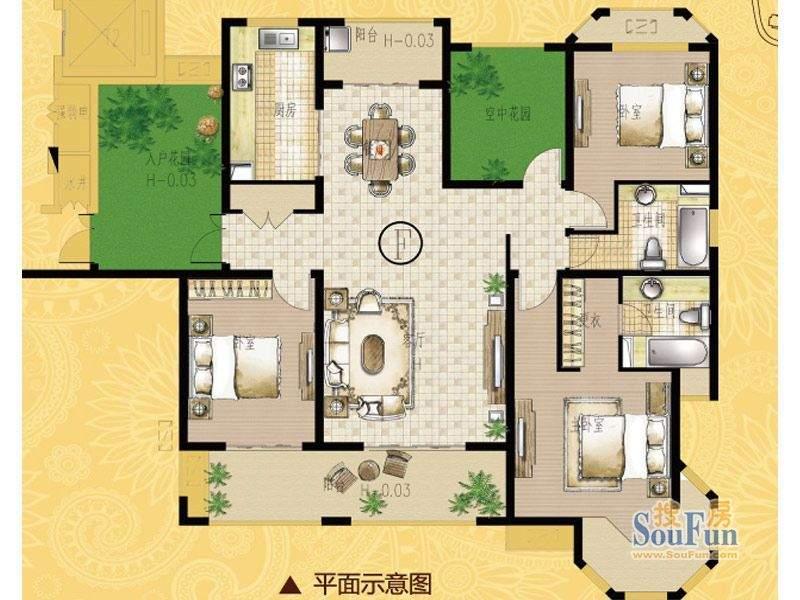 海门中南世纪锦城17面积:170.00平米
