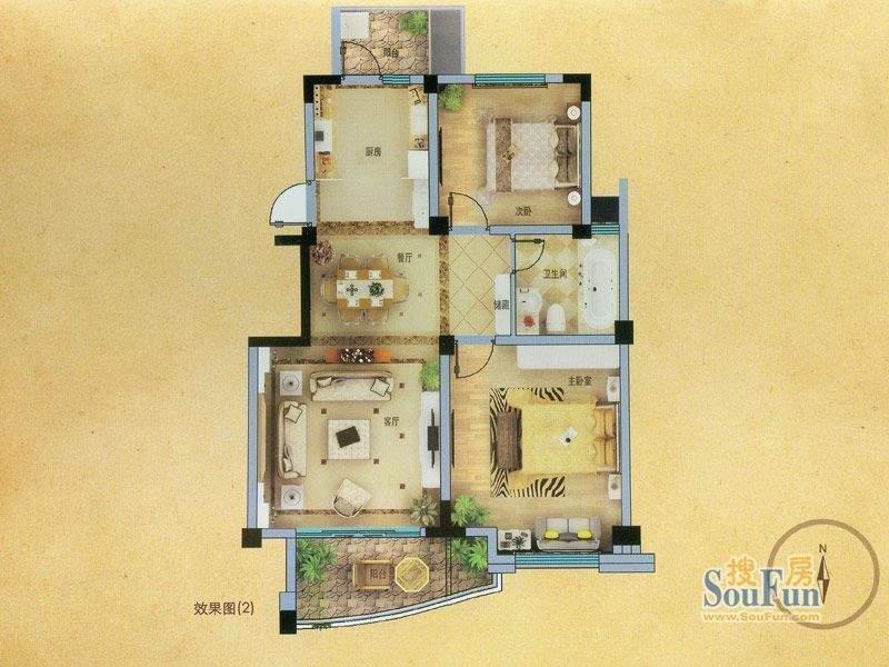 山姆城市广场A2户型面积:90.00平米