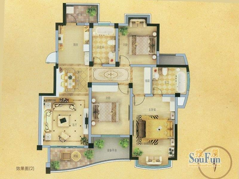 山姆城市广场C2户型面积:120.00平米