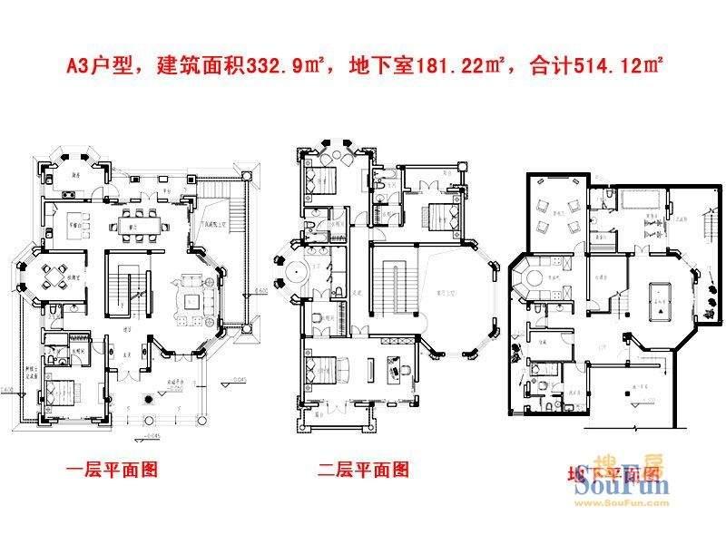 崇德馥园A3户型 10室面积:514.12平米