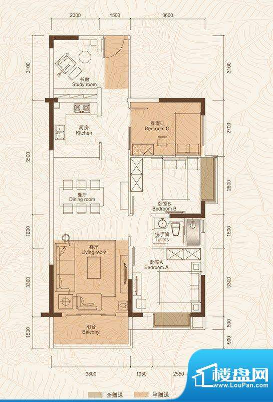 C户型 4室2厅面积:91.92平米