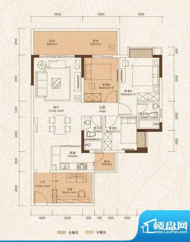 A户型 4室2厅面积:99.08平米