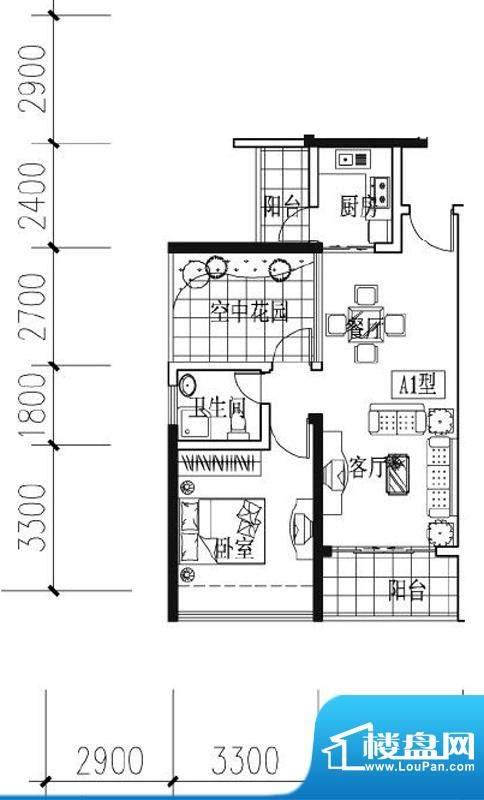 凯南莱弗城A1户型 2面积:69.32平米