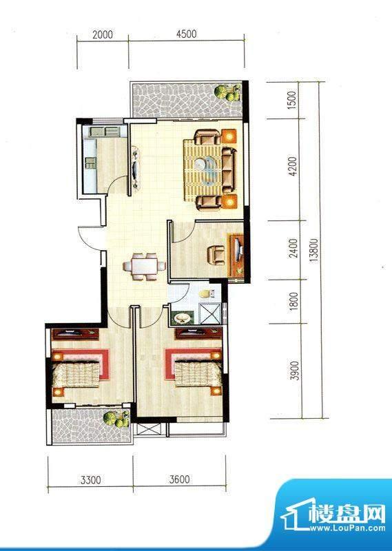 正和城B户型 3室2厅面积:101.62m平米