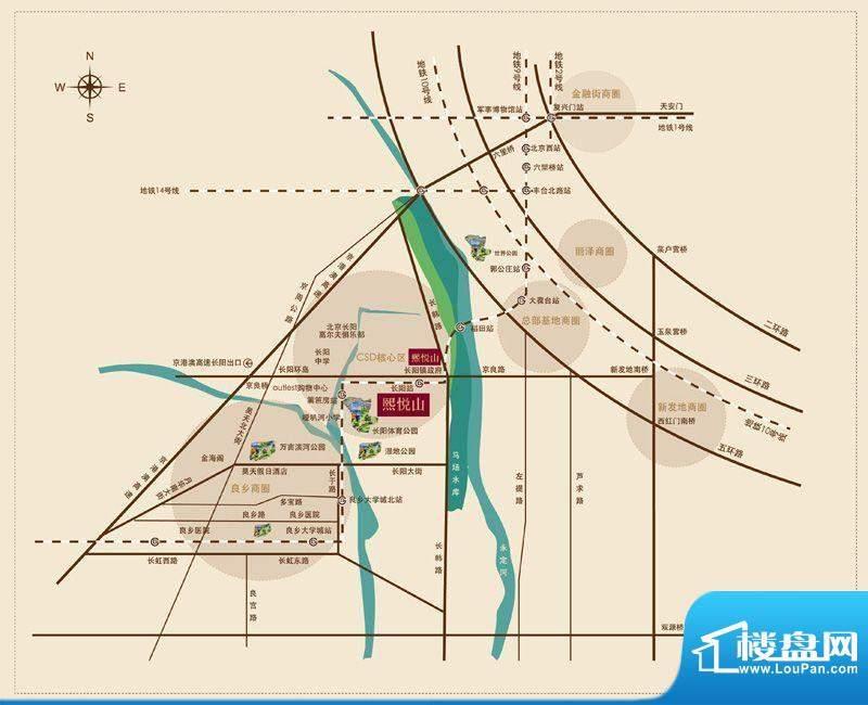 首开熙悦山澜庭交通图
