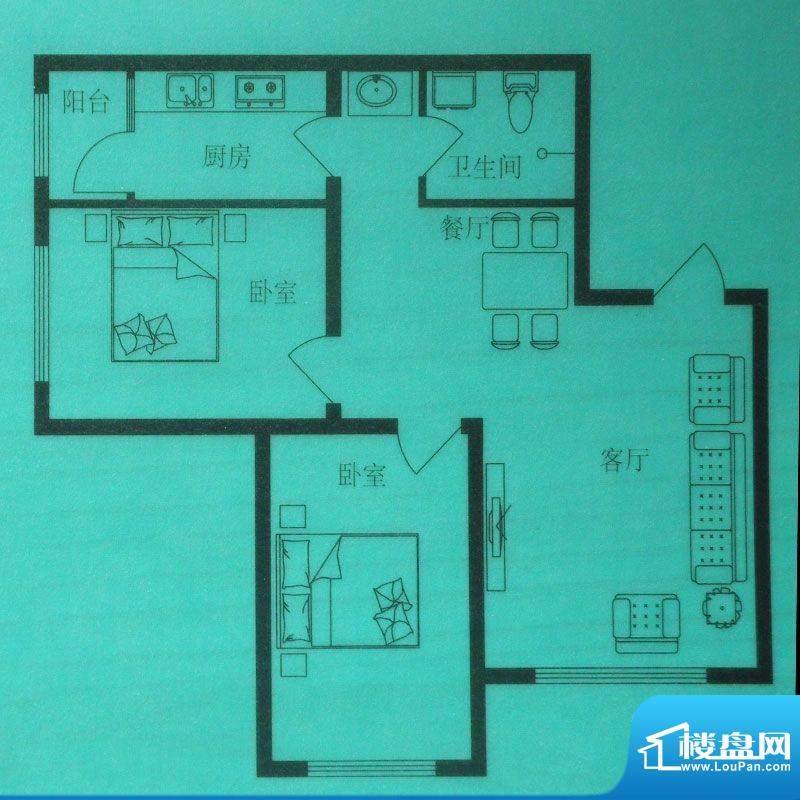 时尚印象F户型 2室2面积:85.00m平米