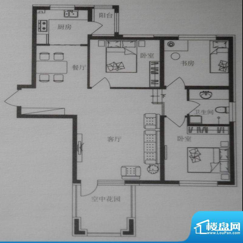 时尚印象B1户型 3室面积:101.00m平米