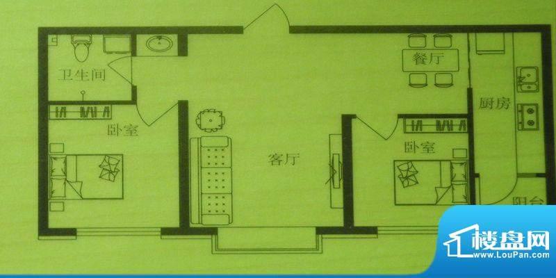 时尚印象C户型 2室2面积:69.00m平米