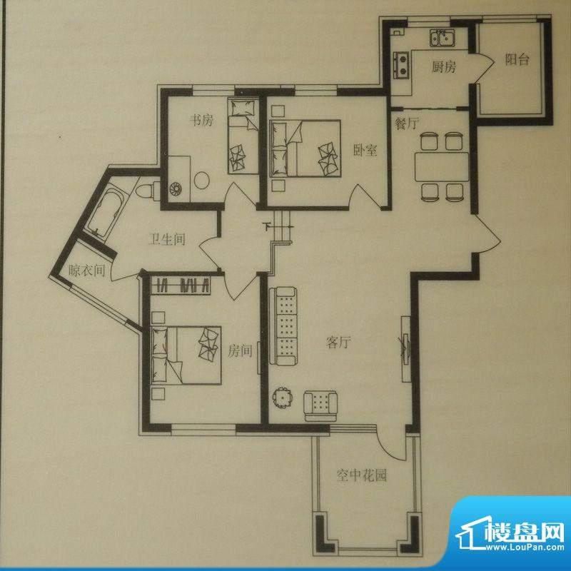 时尚印象A2户型 3室面积:92.00m平米