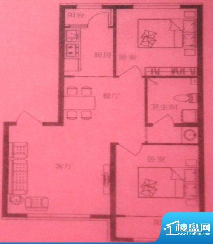 时尚印象D户型 2室2面积:93.00m平米
