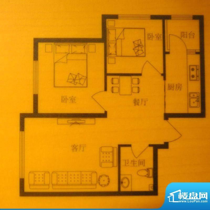 时尚印象E户型 2室2面积:66.00m平米