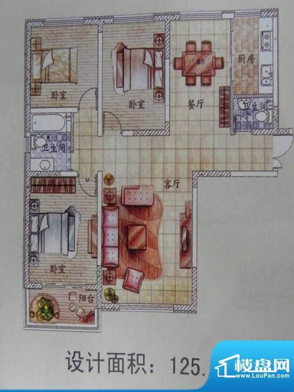 怡馨花园3房户型 3室面积:125.10m平米