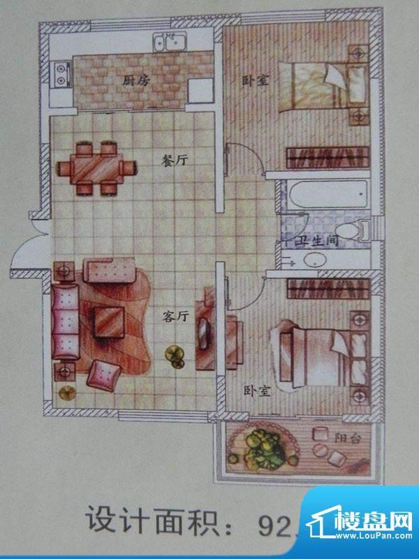 怡馨花园2房户型 2室面积:92.40m平米