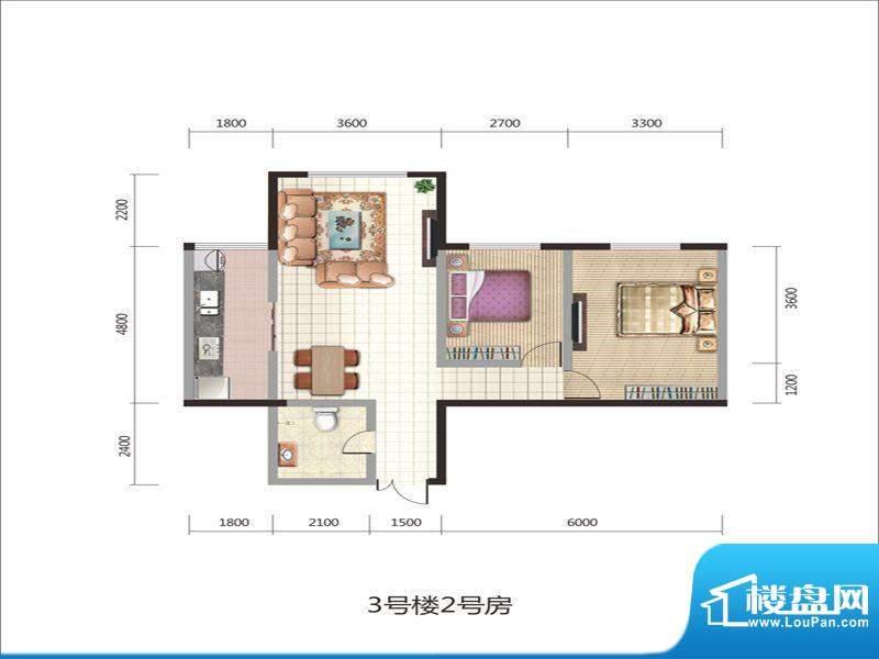 紫薇丽都两房户型 2面积:90.04m平米