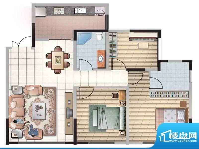 紫薇丽都三房户型 3面积:104.89m平米