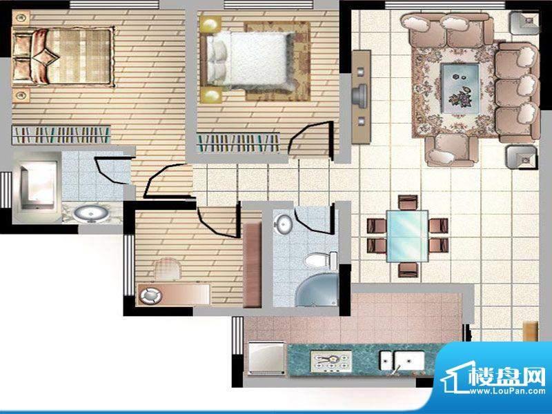 紫薇丽都三房户型 3面积:109.77m平米