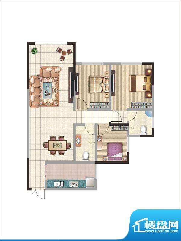 紫薇丽都三房户型 3面积:114.36m平米