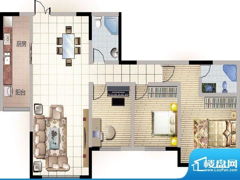 紫薇丽都三房户型 3面积:130.49m平米