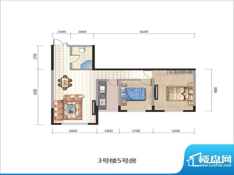 紫薇丽都两房户型 2面积:87.20m平米