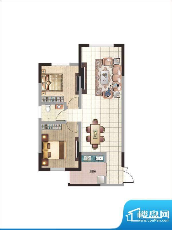 紫薇丽都两房户型 2面积:85.86m平米