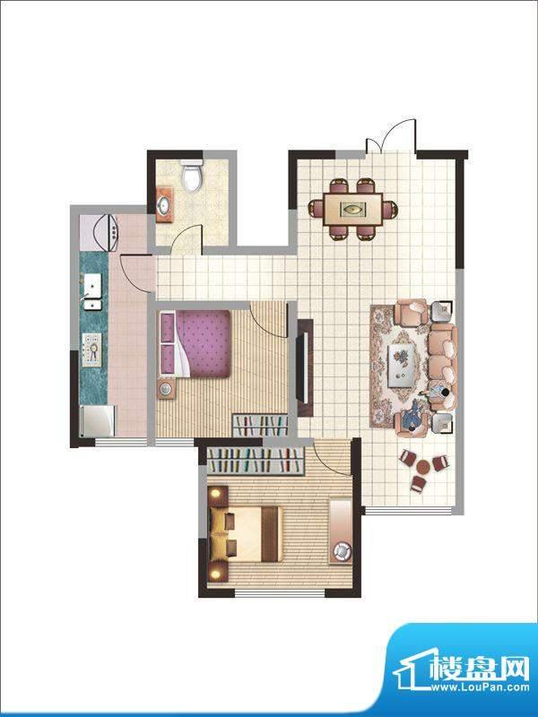 紫薇丽都两房户型 2面积:86.37m平米