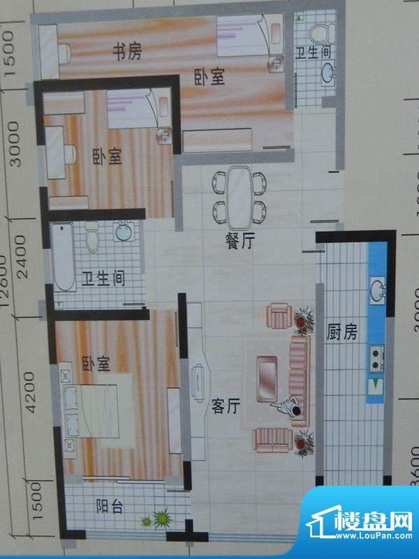 玉珠花园1单元3#户型面积:161.70m平米