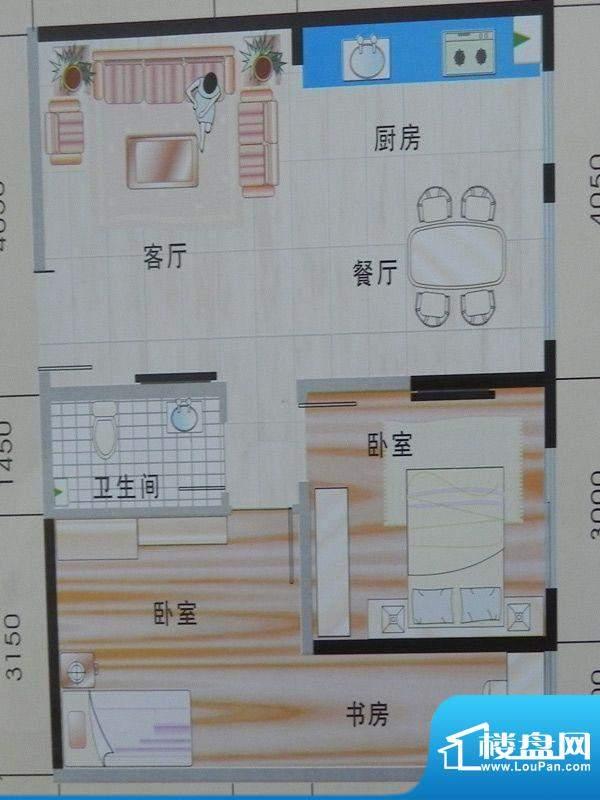 玉珠花园1单元1#户型面积:83.19m平米