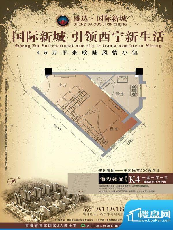 盛达国际新城K4户型面积:33.75m平米