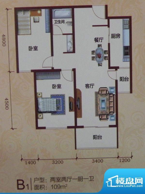 黄河花园B1户型 2室面积:109.00m平米