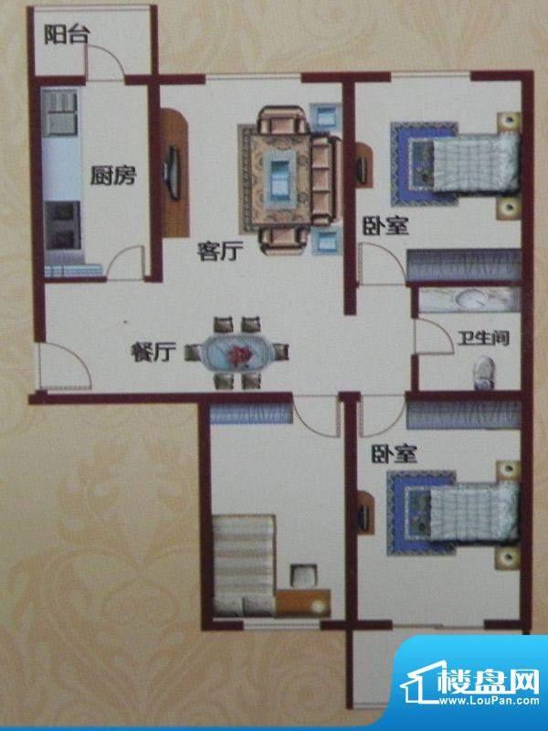 黄河花园D-1户型 3室面积:114.62m平米