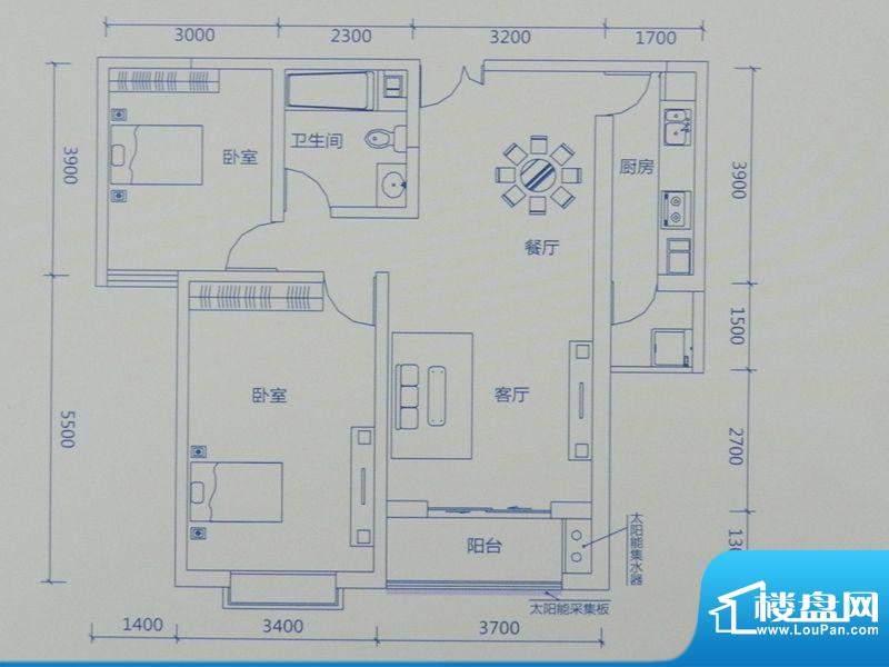 新力景瑞新城A2两房面积:104.37m平米