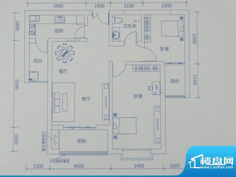 新力景瑞新城B2两房面积:102.23m平米