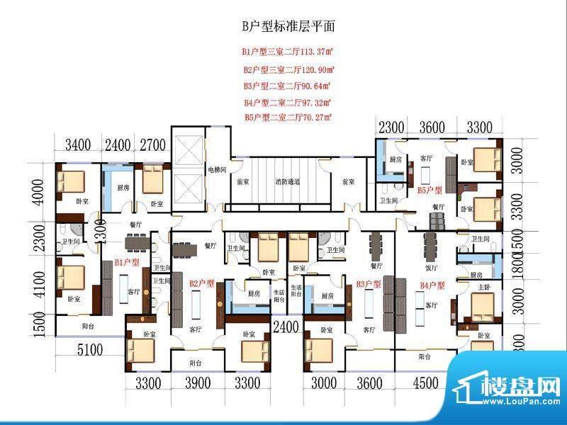 民贸新天地B2户型 3面积:120.90m平米