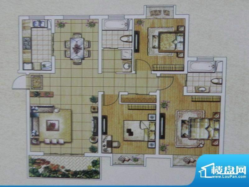西城名邸18号楼 3房面积:127.29m平米
