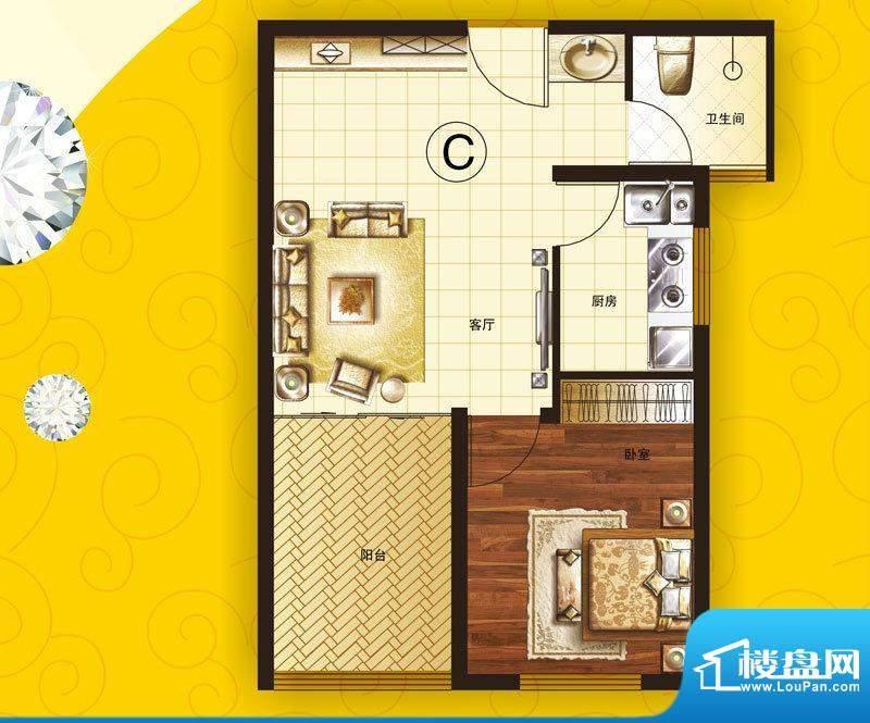 美丽之都C户型 1室1面积:54.00m平米