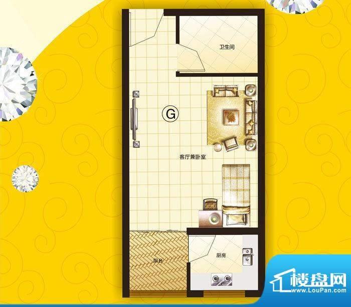美丽之都G户型 1室1面积:39.89m平米