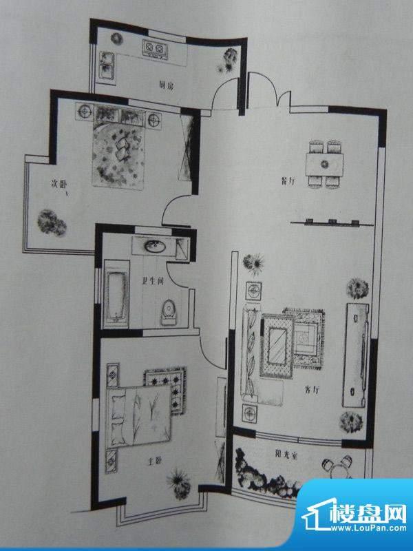新千国际广场2房 E户面积:100.36m平米