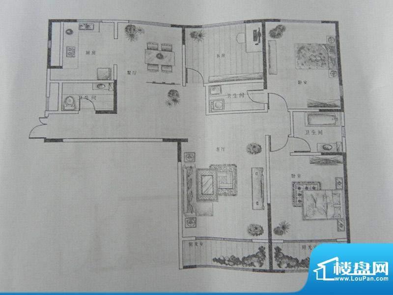 新千国际广场3房 B1面积:160.70m平米