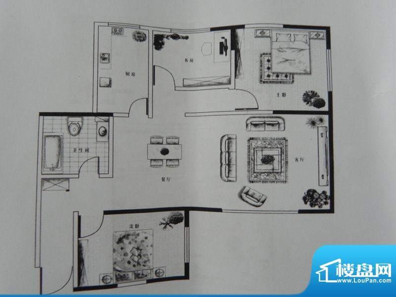 新千国际广场3房A户面积:102.60m平米