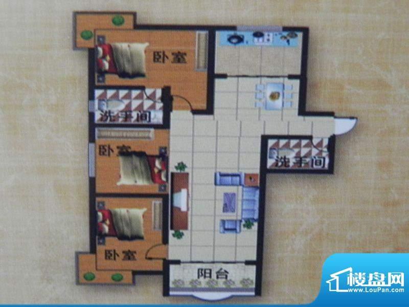 荣豪花园7号楼A户型面积:134.50m平米