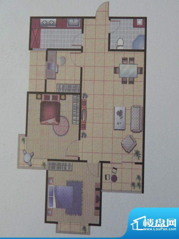 长乐港湾1号楼 2室 面积:82.41m平米