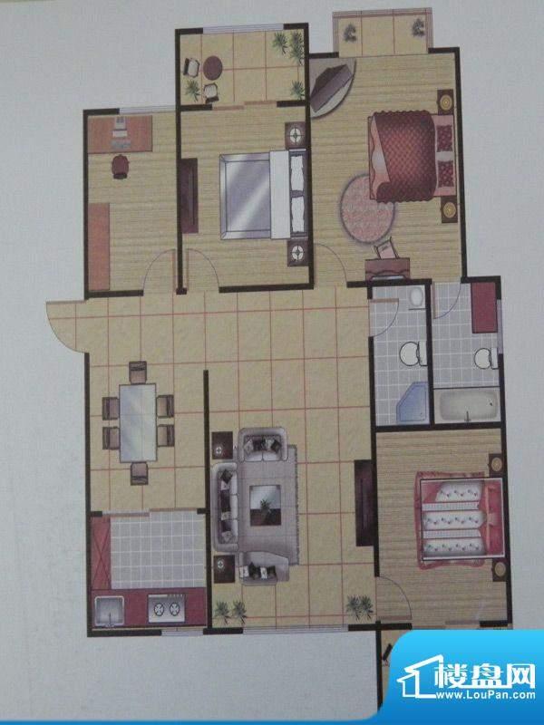 长乐港湾1号楼 3室 面积:135.05m平米
