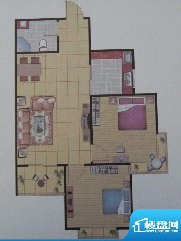 长乐港湾1号楼 2房 面积:83.41m平米